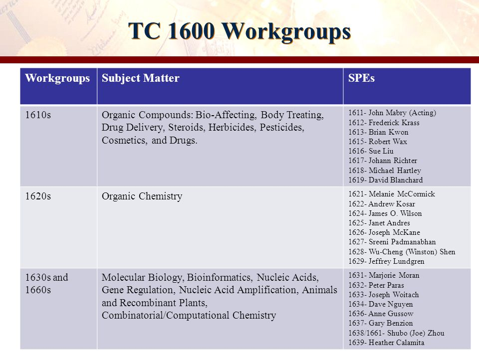 TC 1600 Workgroups Workgroups Subject Matter SPEs 1610s