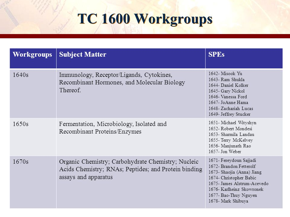 TC 1600 Workgroups Workgroups Subject Matter SPEs 1640s