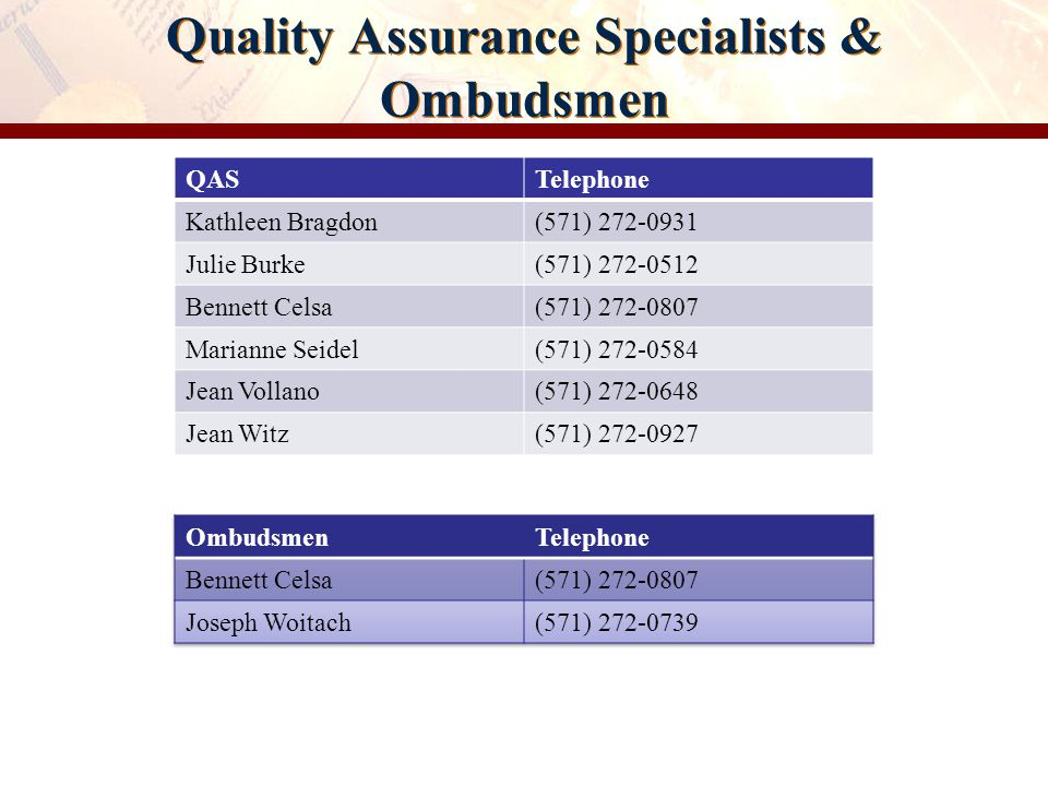 Quality Assurance Specialists & Ombudsmen