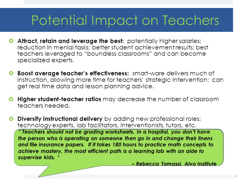 Potential Impact on Teachers
