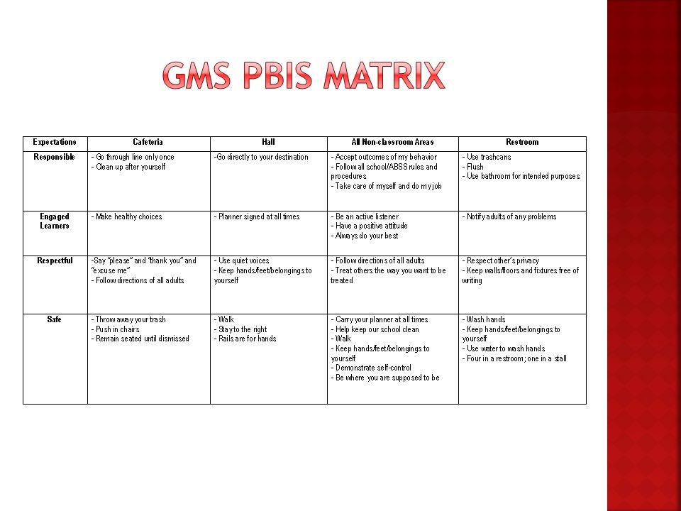 GMS PBIS Matrix