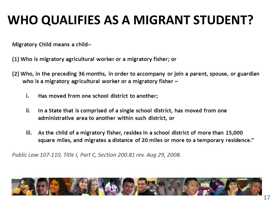 WHO QUALIFIES AS A MIGRANT STUDENT