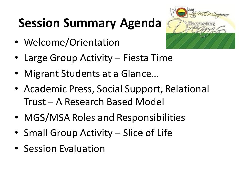 Session Summary Agenda