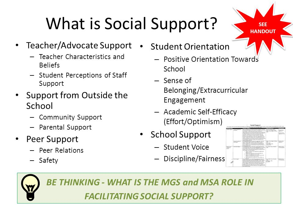 What is Social Support Teacher/Advocate Support