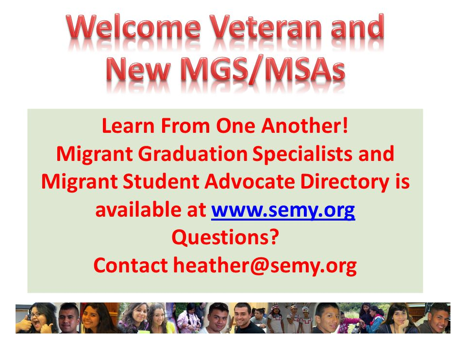 Welcome Veteran and New MGS/MSAs