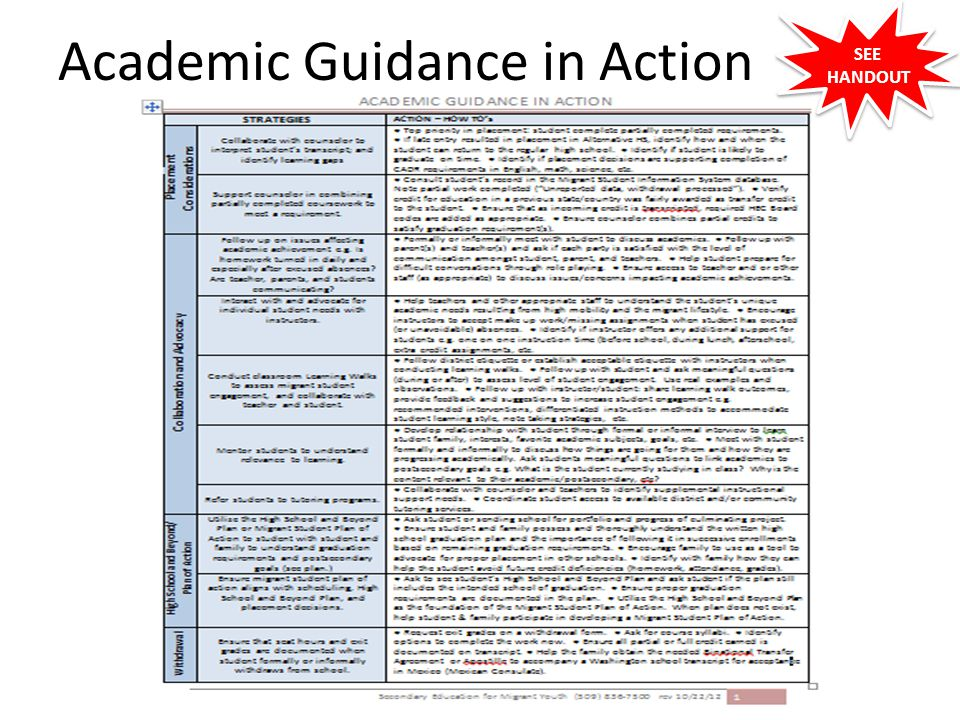 Academic Guidance in Action