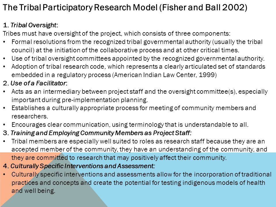 The Tribal Participatory Research Model (Fisher and Ball 2002)