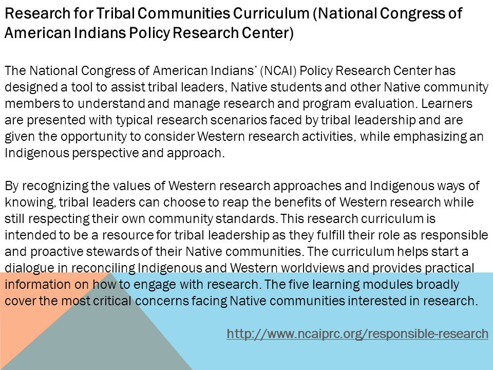 Research for Tribal Communities Curriculum (National Congress of American Indians Policy Research Center)