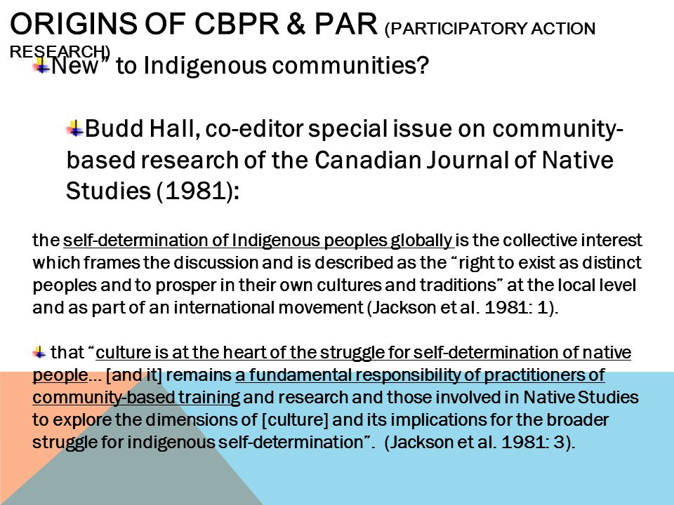 Origins of cbpr & par (participatory action research)