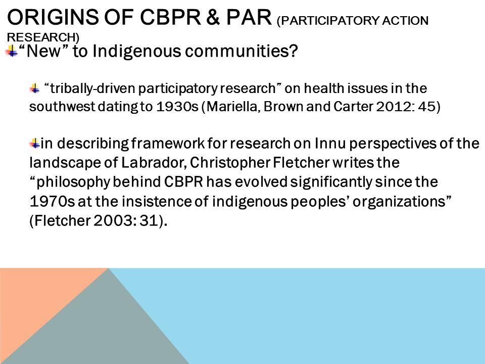 Origins of cbpr & par (participatory action research)