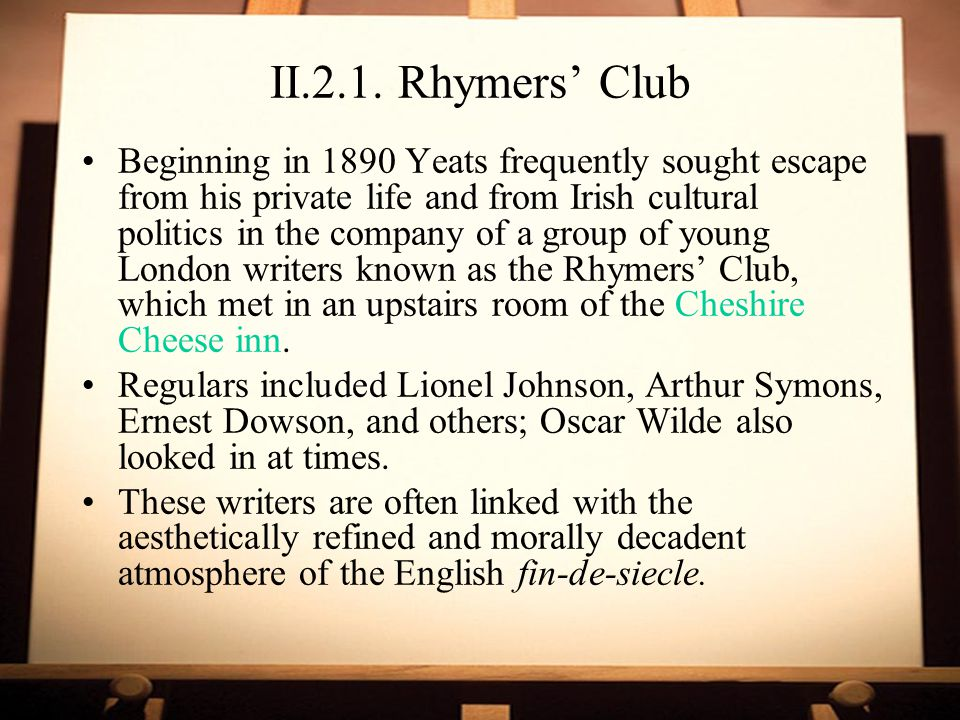 II.2.1. Rhymers' Club