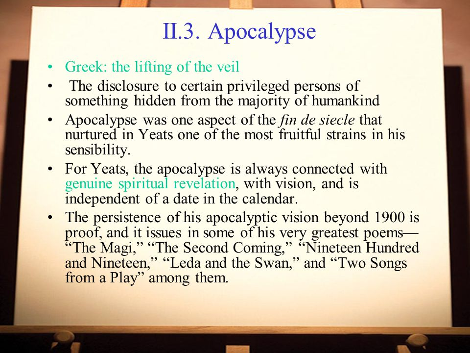 II.3. Apocalypse Greek: the lifting of the veil