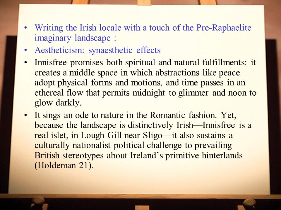 Writing the Irish locale with a touch of the Pre-Raphaelite imaginary landscape :