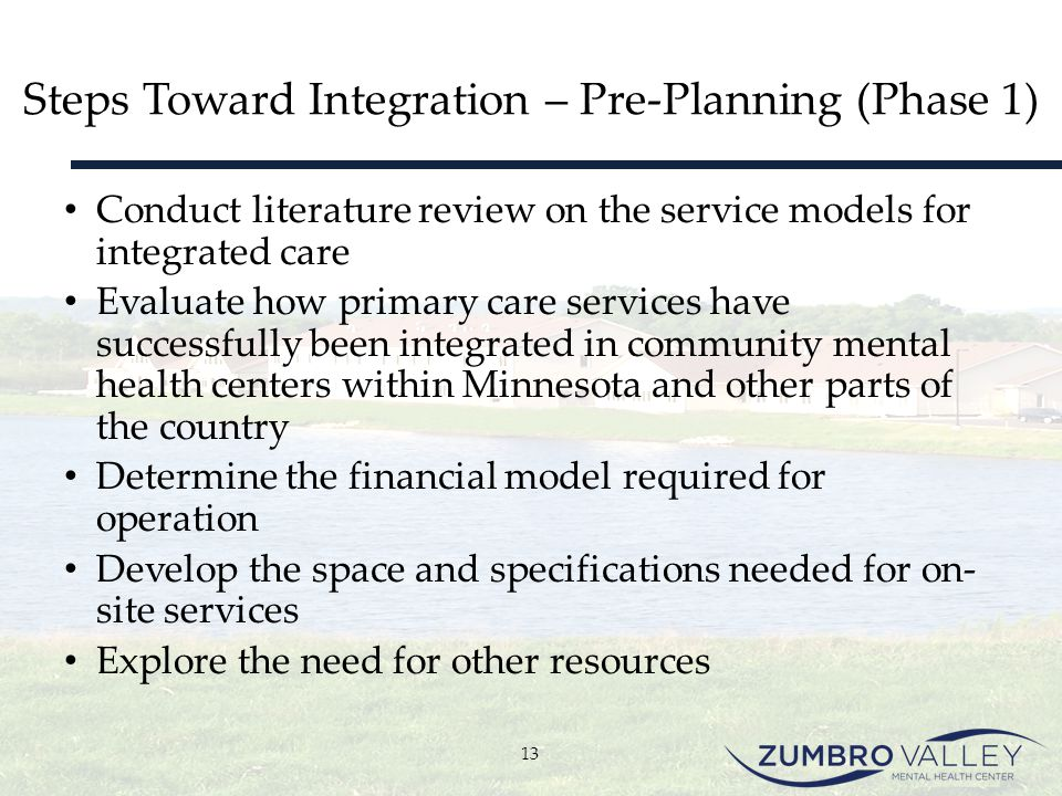 Steps Toward Integration – Pre-Planning (Phase 1)