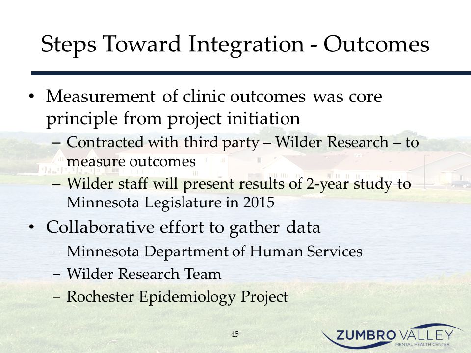 Steps Toward Integration - Outcomes