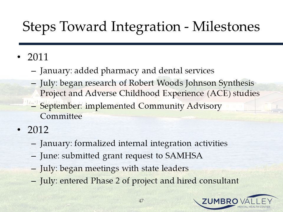 Steps Toward Integration - Milestones