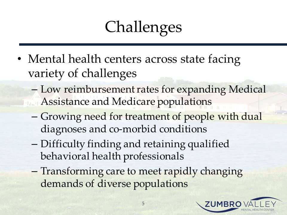 Challenges Mental health centers across state facing variety of challenges.
