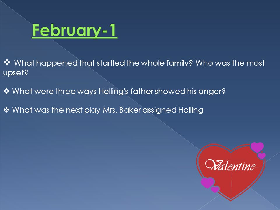 February-1 What happened that startled the whole family Who was the most upset What were three ways Holling s father showed his anger