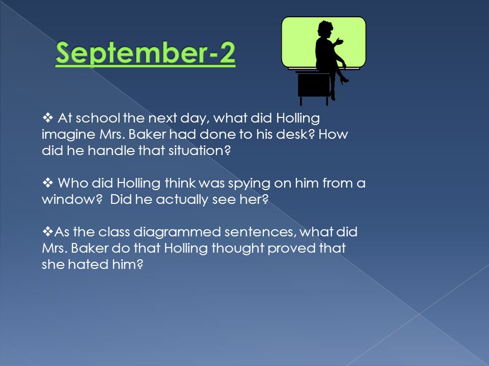 September-2 At school the next day, what did Holling imagine Mrs. Baker had done to his desk How did he handle that situation