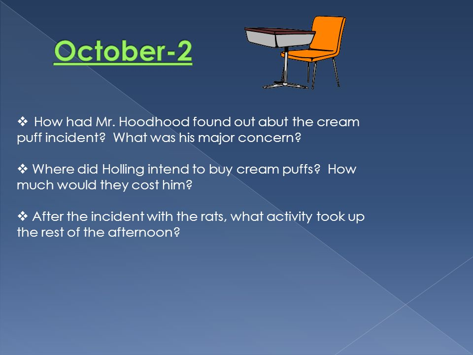 October-2 How had Mr. Hoodhood found out abut the cream puff incident What was his major concern