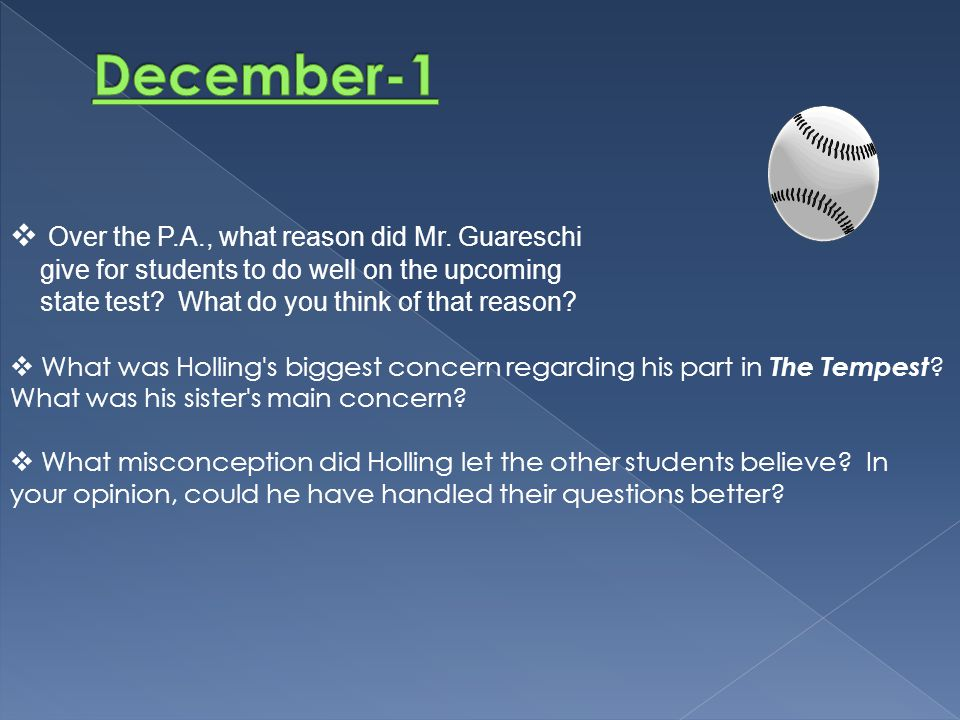 December-1 Over the P.A., what reason did Mr. Guareschi