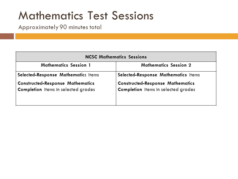Mathematics Test Sessions Approximately 90 minutes total