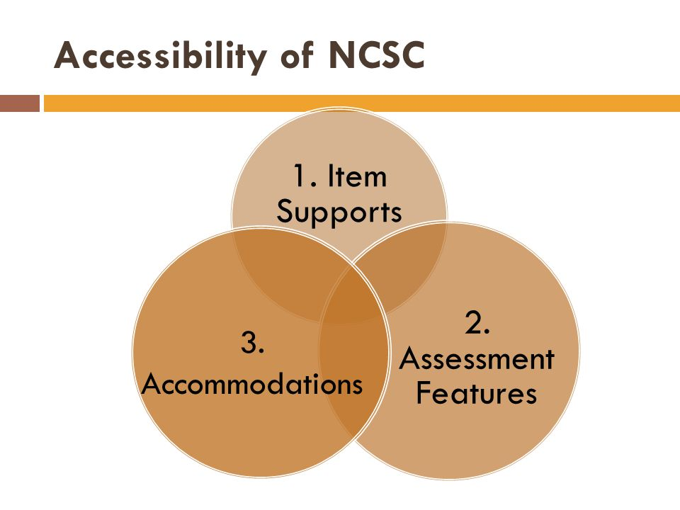 Accessibility of NCSC 1. Item Supports 2. Assessment Features