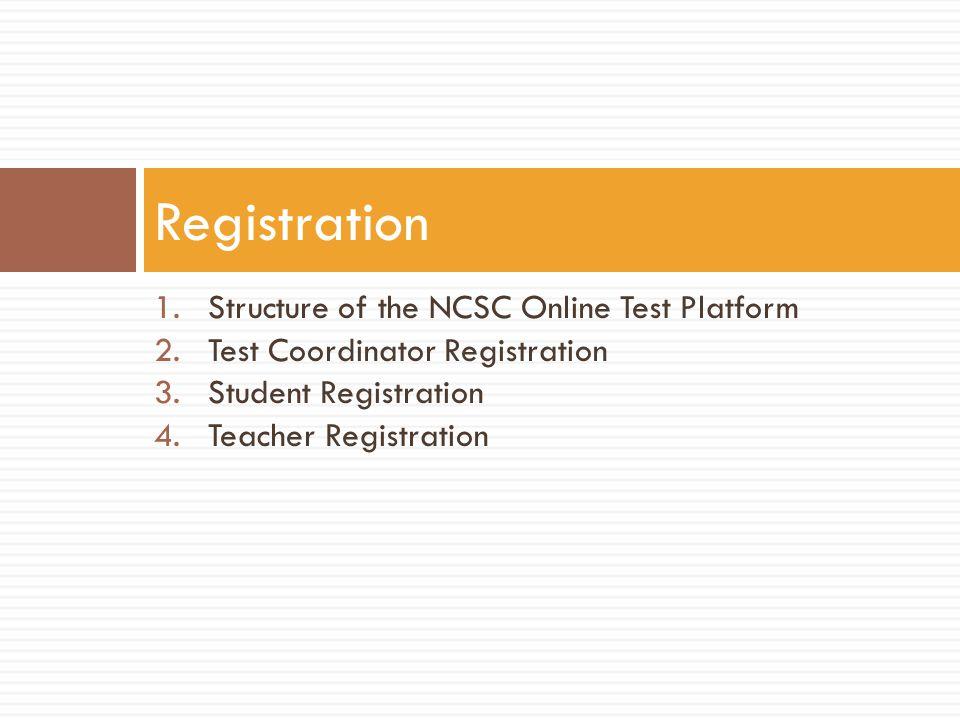 Registration Structure of the NCSC Online Test Platform