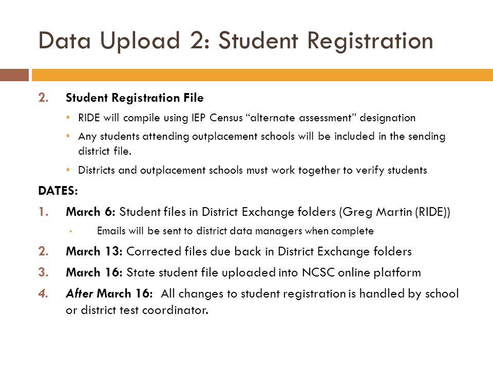 Data Upload 2: Student Registration