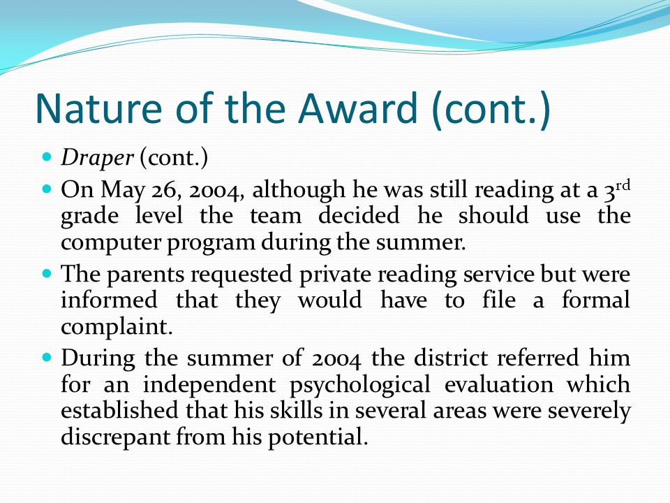 Nature of the Award (cont.)