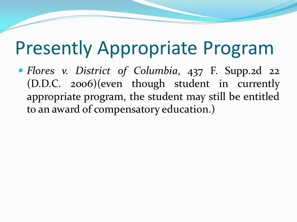 Presently Appropriate Program