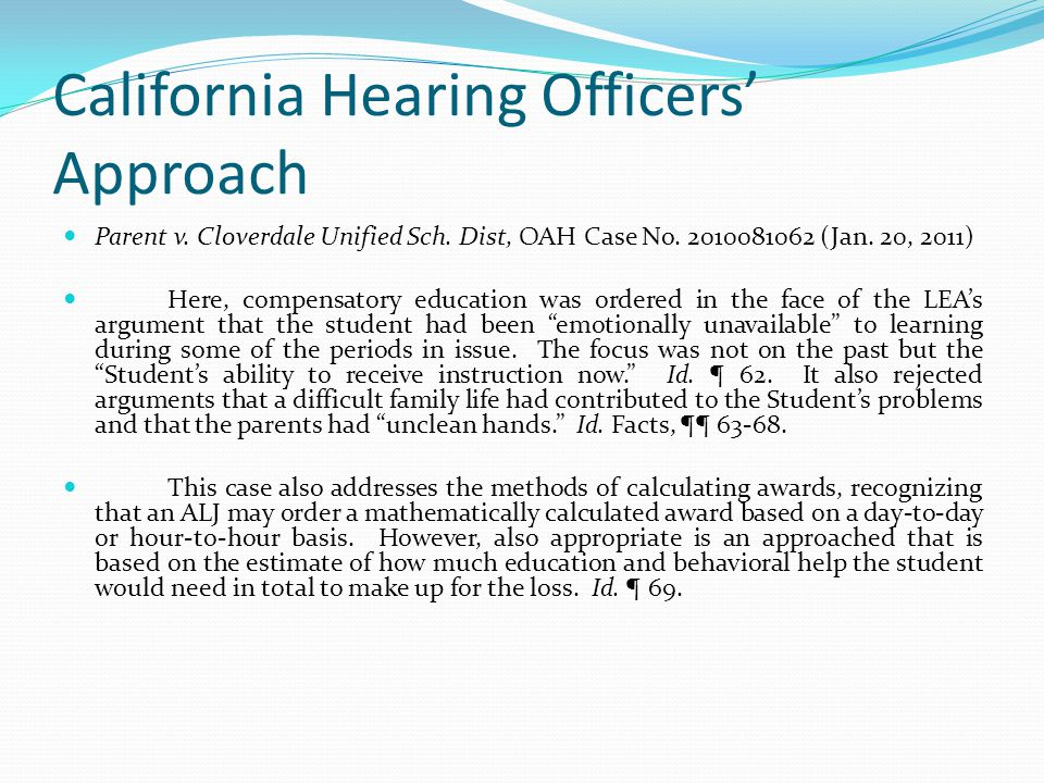 California Hearing Officers' Approach