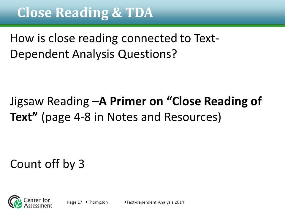 Close Reading & TDA