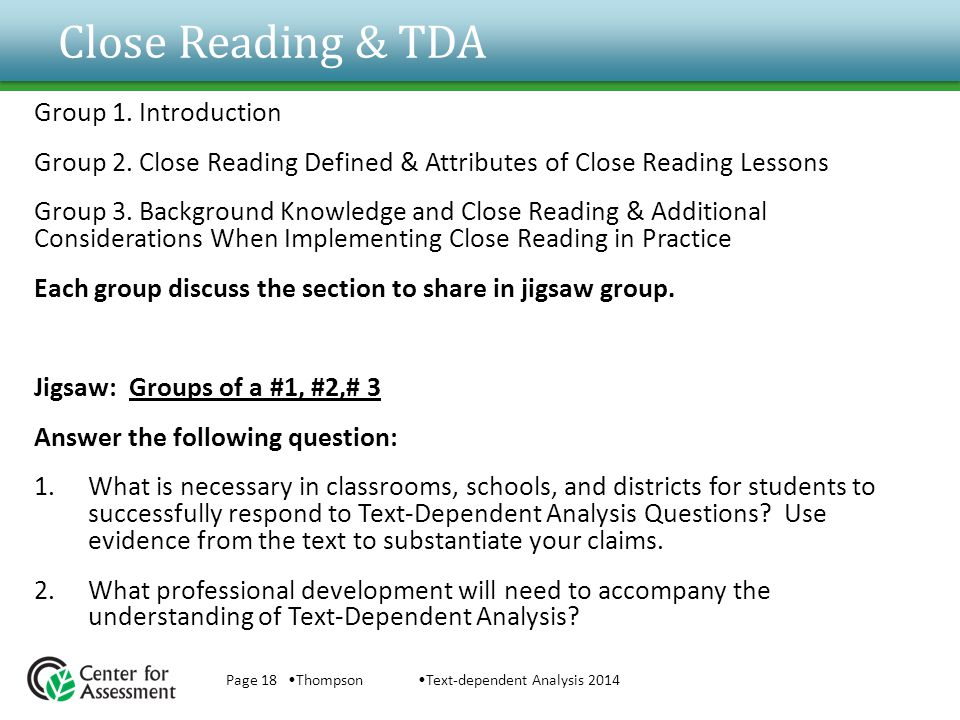 Close Reading & TDA Group 1. Introduction