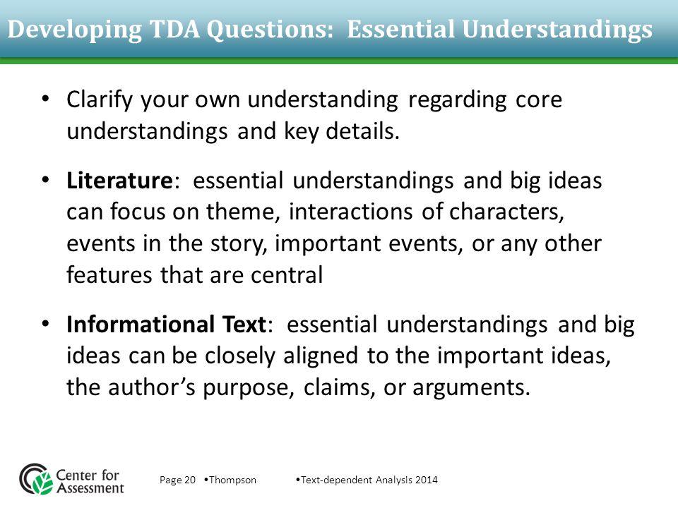 Developing TDA Questions: Essential Understandings