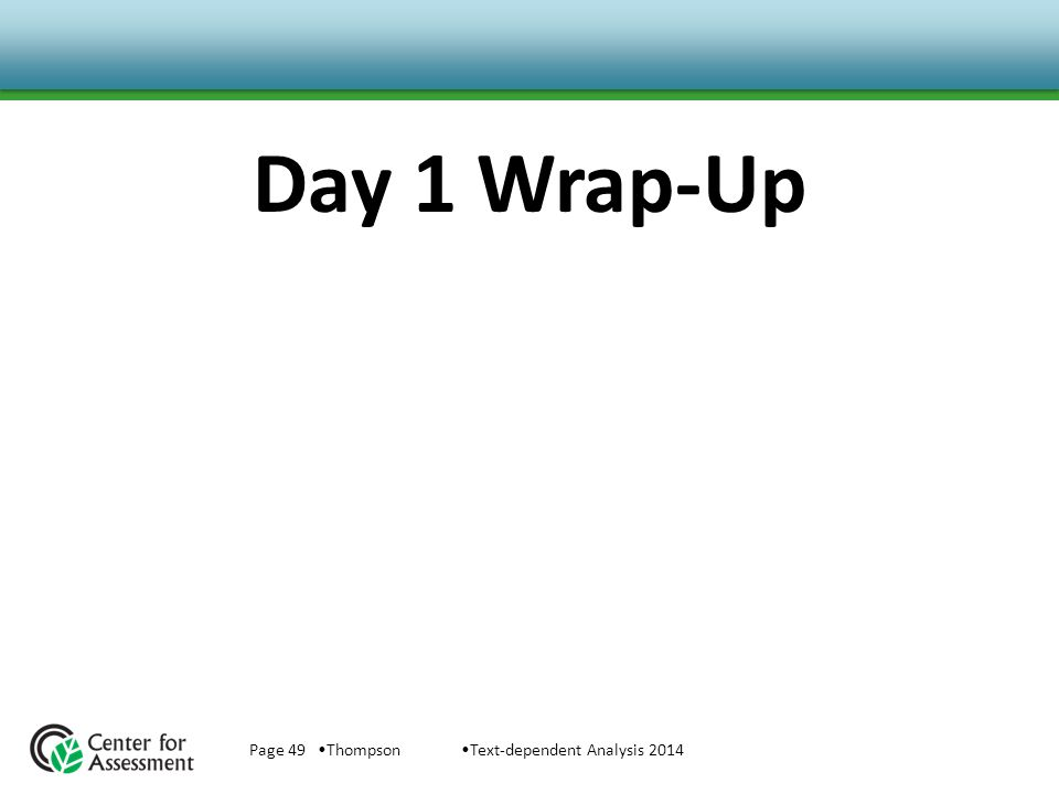 Day 1 Wrap-Up