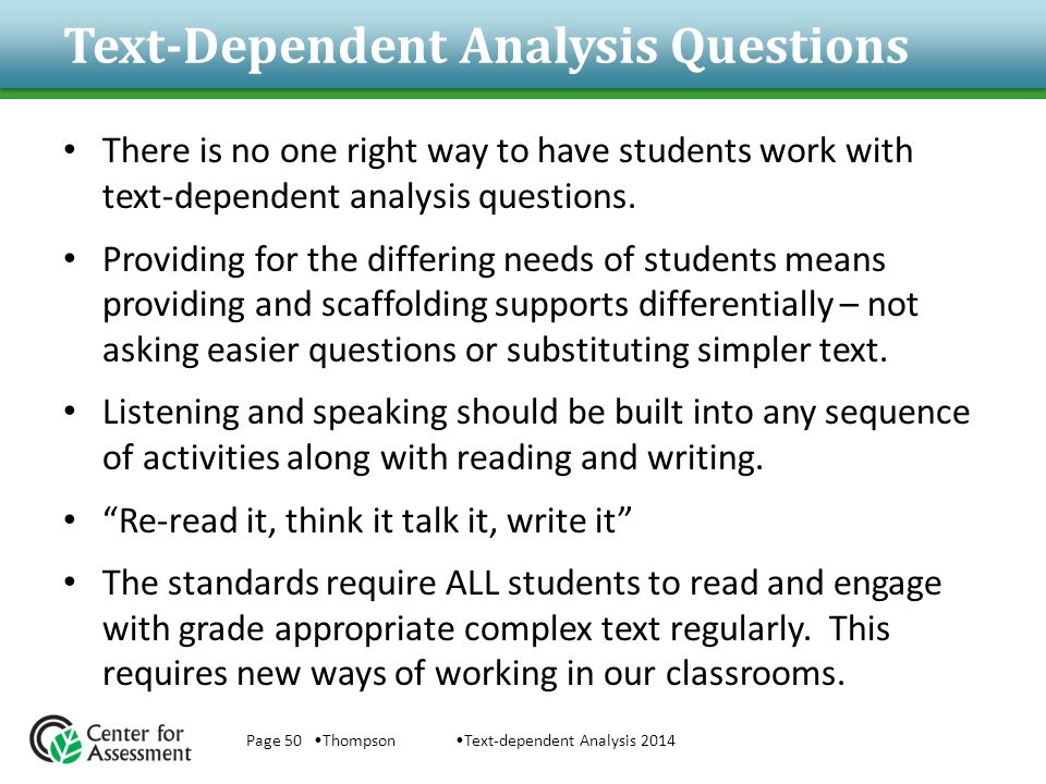Text-Dependent Analysis Questions