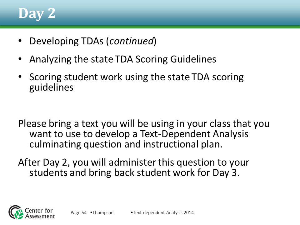 Day 2 Developing TDAs (continued)