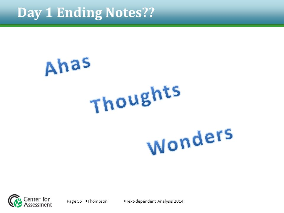 Day 1 Ending Notes Ahas Thoughts Wonders