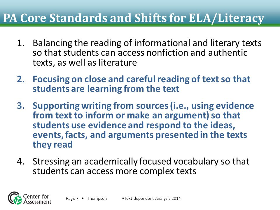 PA Core Standards and Shifts for ELA/Literacy