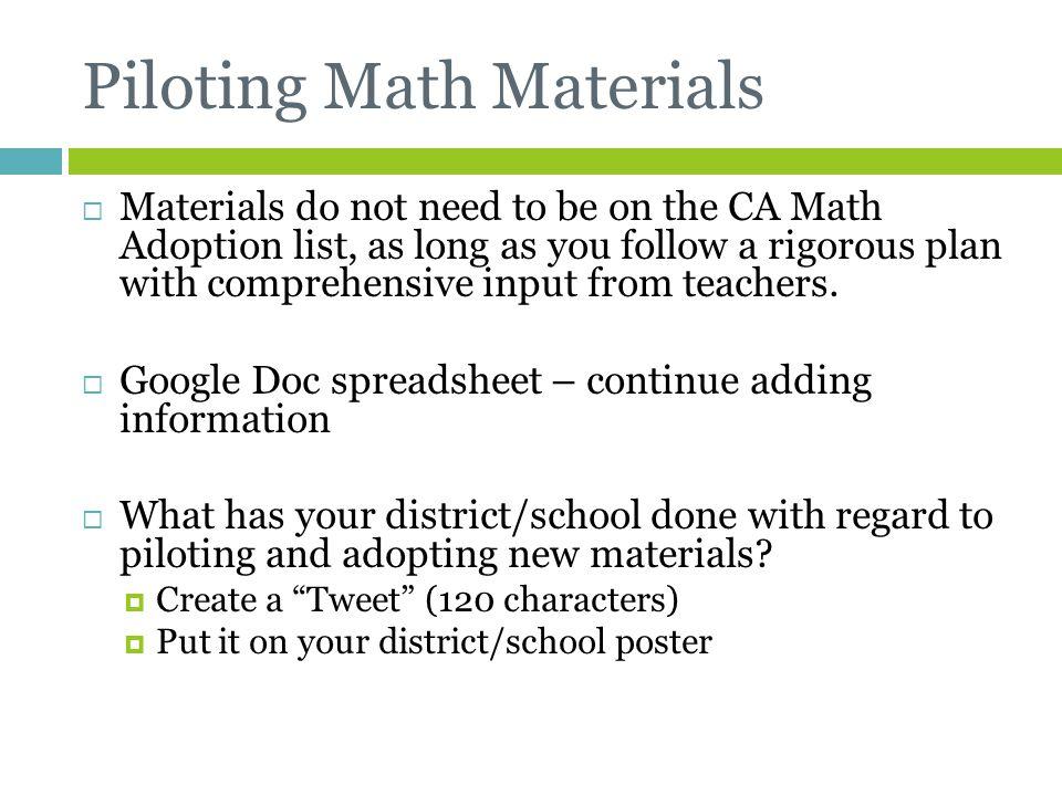 Piloting Math Materials