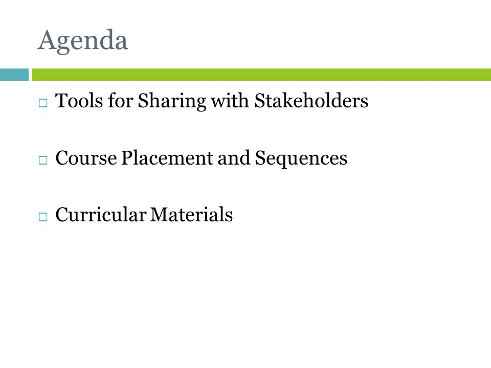Agenda Tools for Sharing with Stakeholders