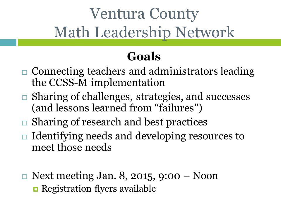 Ventura County Math Leadership Network