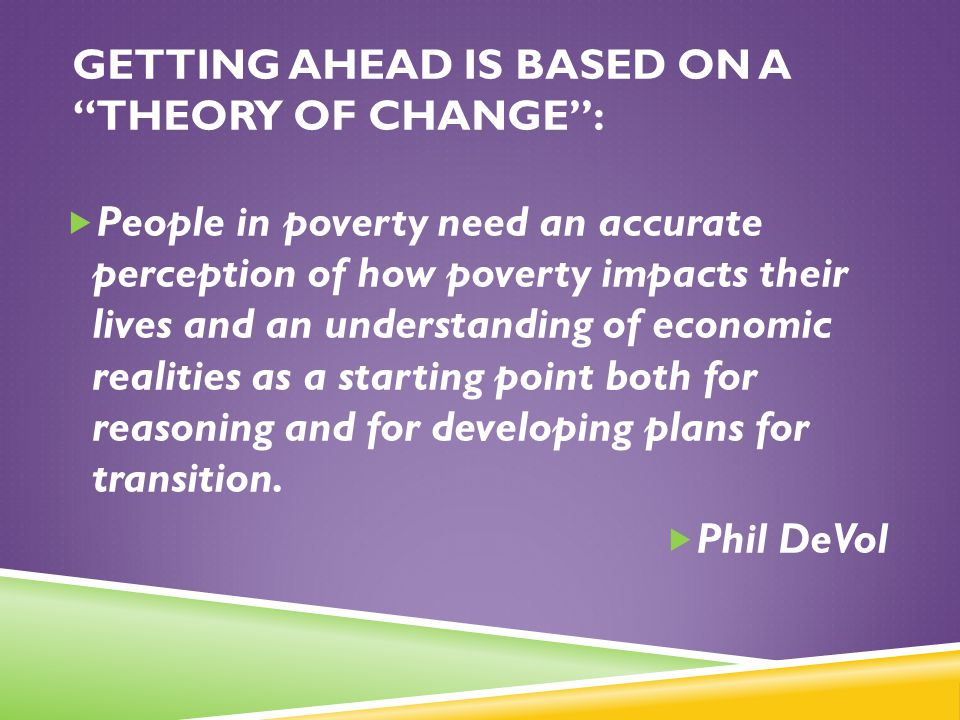 Getting Ahead is Based on a theory of change :