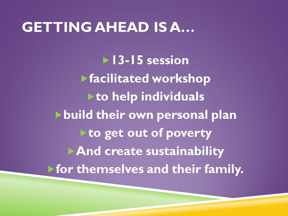 Getting Ahead is a… 13-15 session facilitated workshop