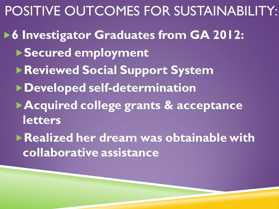 Positive Outcomes for Sustainability: