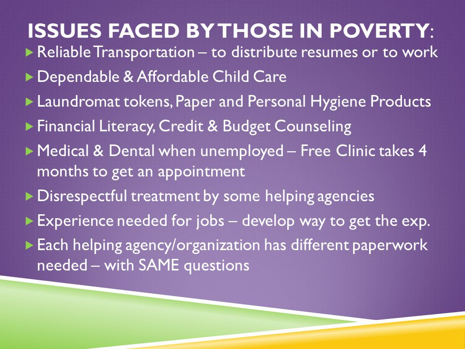 Issues faced by those in poverty: