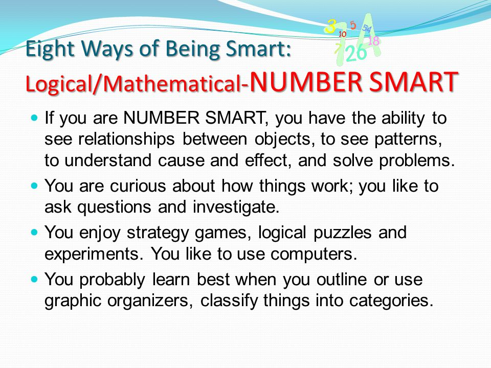 Eight Ways of Being Smart: Logical/Mathematical-NUMBER SMART