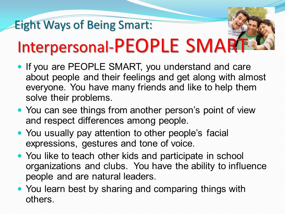 Eight Ways of Being Smart: Interpersonal-PEOPLE SMART