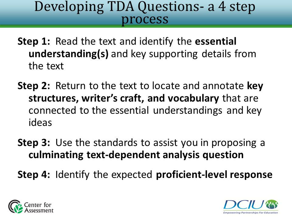 Developing TDA Questions- a 4 step process